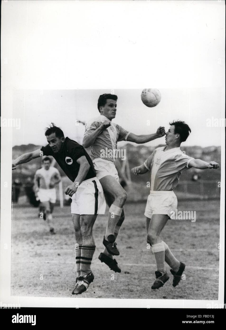 1962 - Right on the Nose. ''The sock'' seemed to be put into soccer when two team - mates of the Australian Hakoah Stock Photo