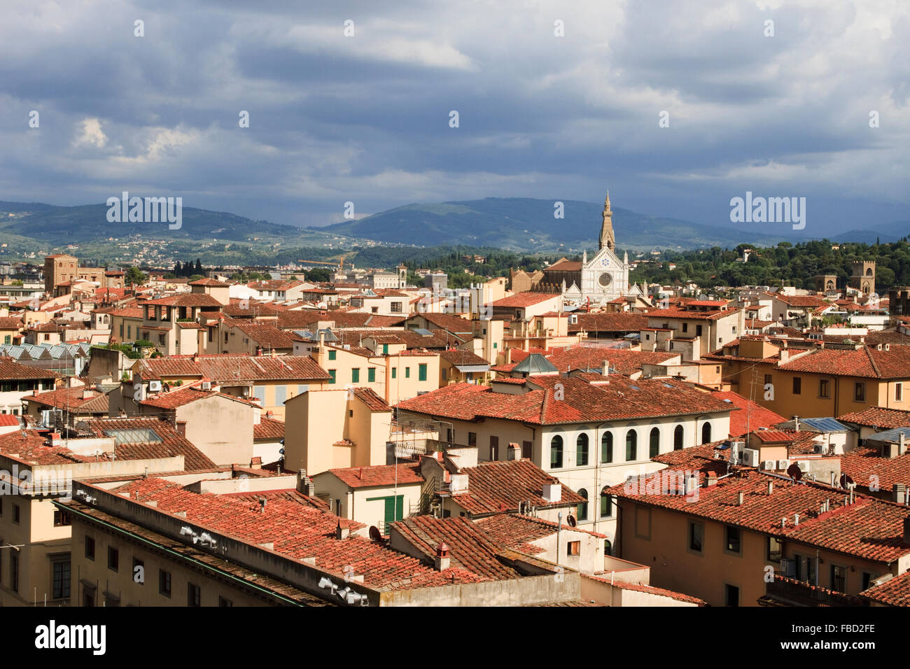 View from Campanile di Giotto, looking south-east over Florence, Italy. Stock Photo