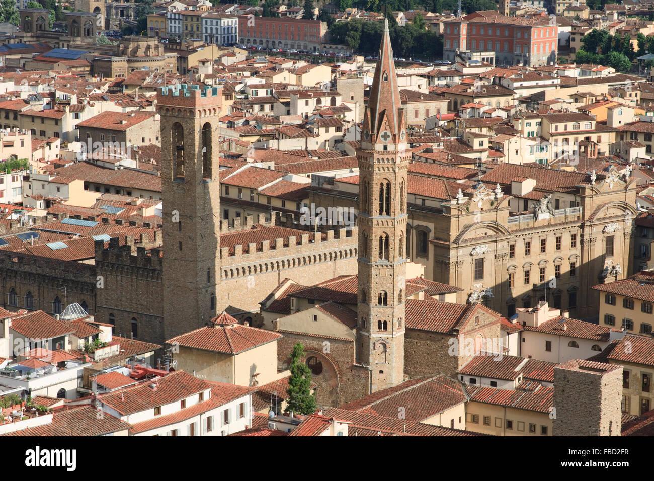 Badia Fiorentina and Museo Nazionale del Bargello in Florence, Italy, as seen from the Campanile di Giotto. Stock Photo