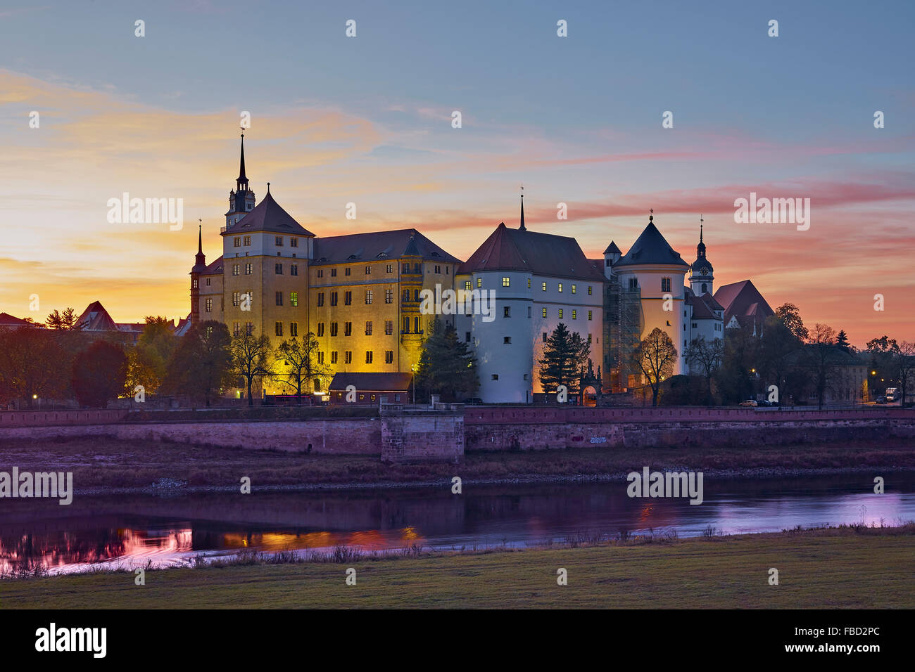 Hartenfels Castle in Torgau, Saxony, Germany - Stock Image