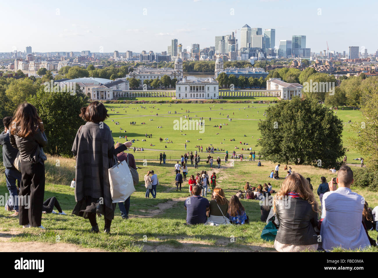 National Maritime Museum, Greenwich and Canary Wharf office complex, London, United Kingdom - Stock Image