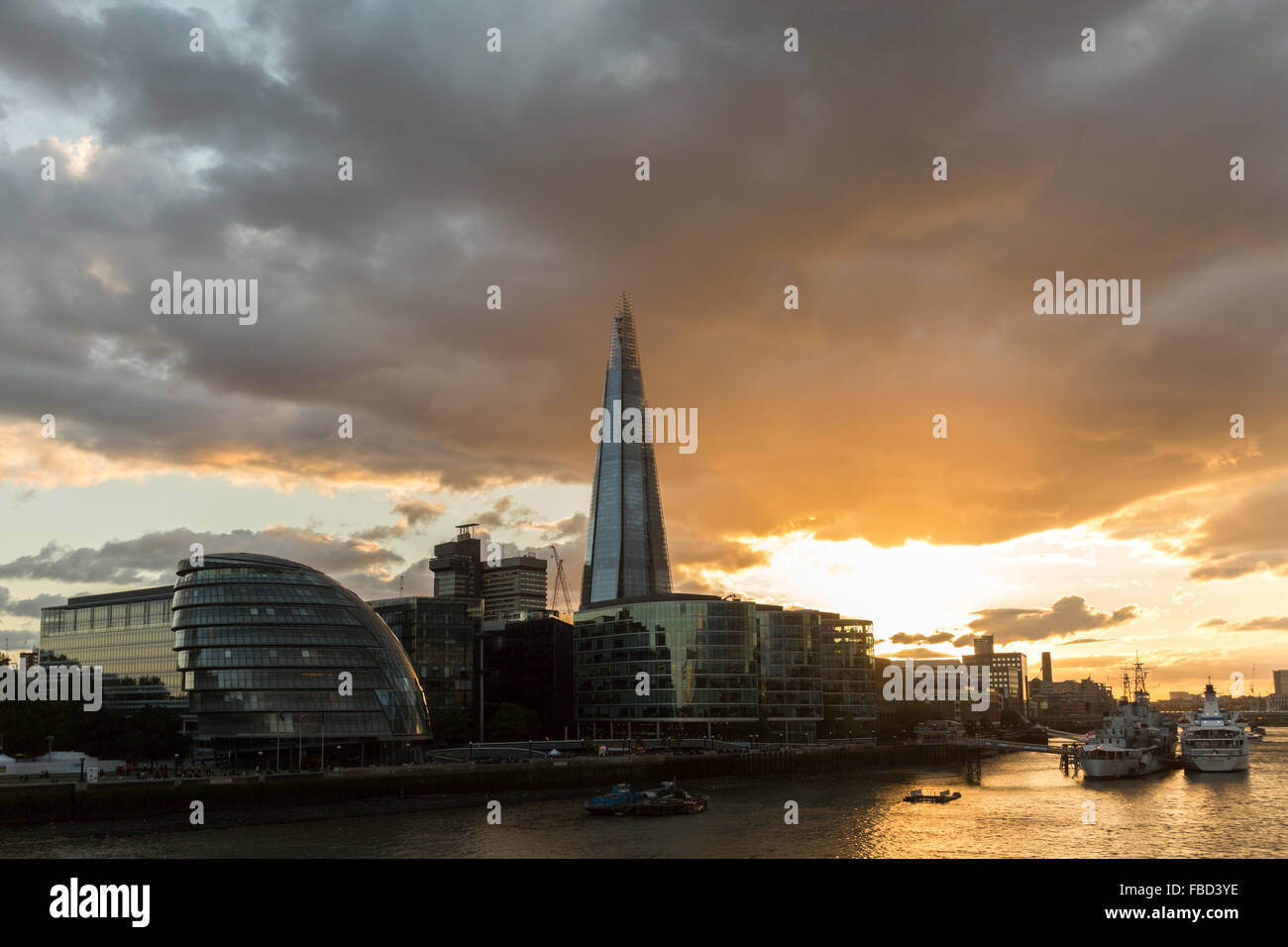 The City Hall and The Shard, London, United Kingdom - Stock Image