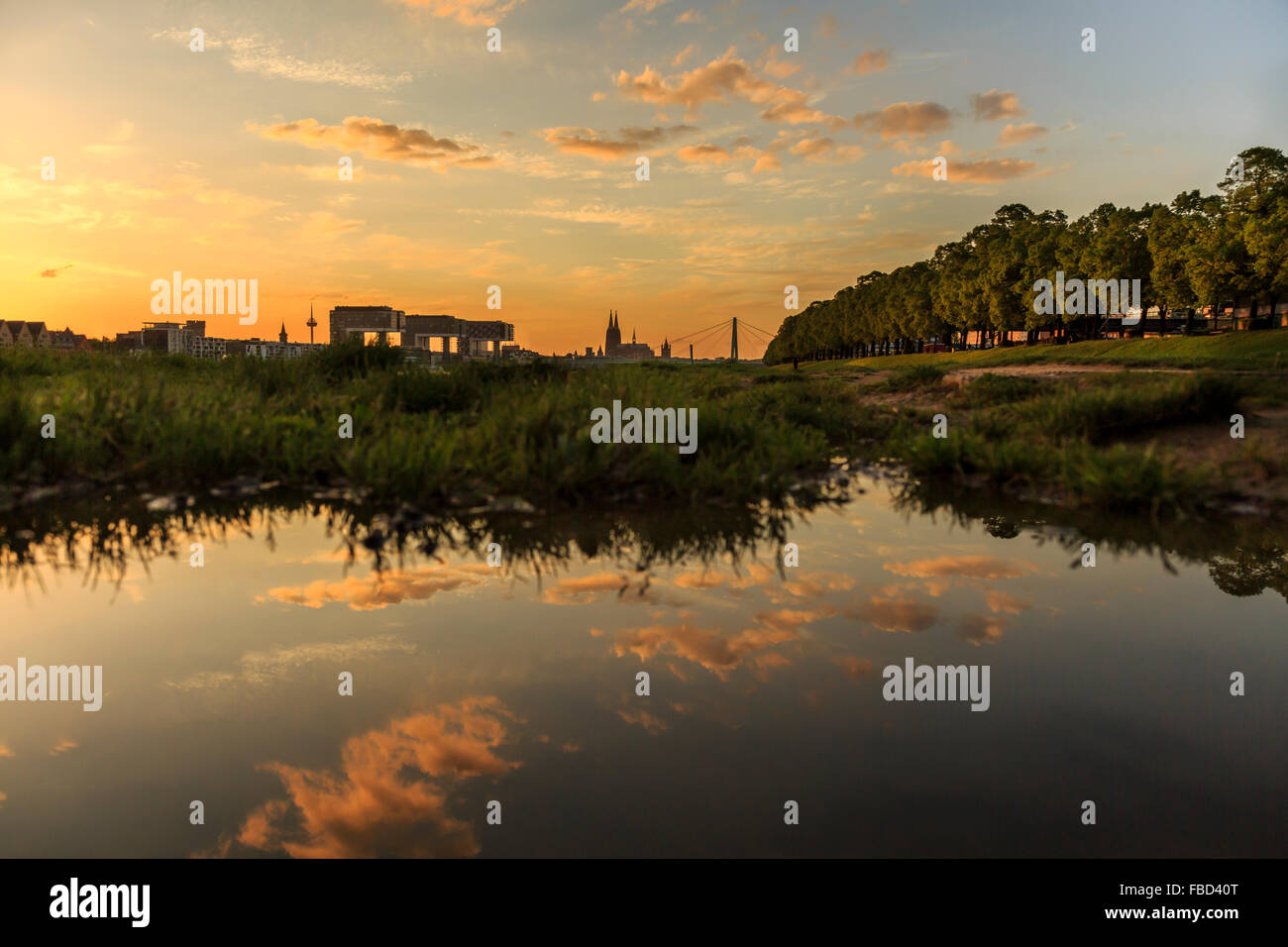 Banks of River Rhine, Cologne, Germany - Stock Image