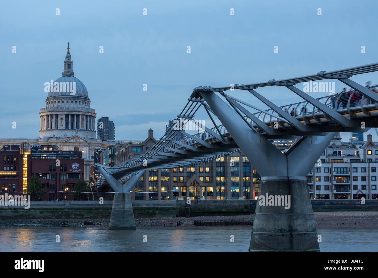 St Paul's Cathedral and Millennium Bridge, London, United Kingdom - Stock Image