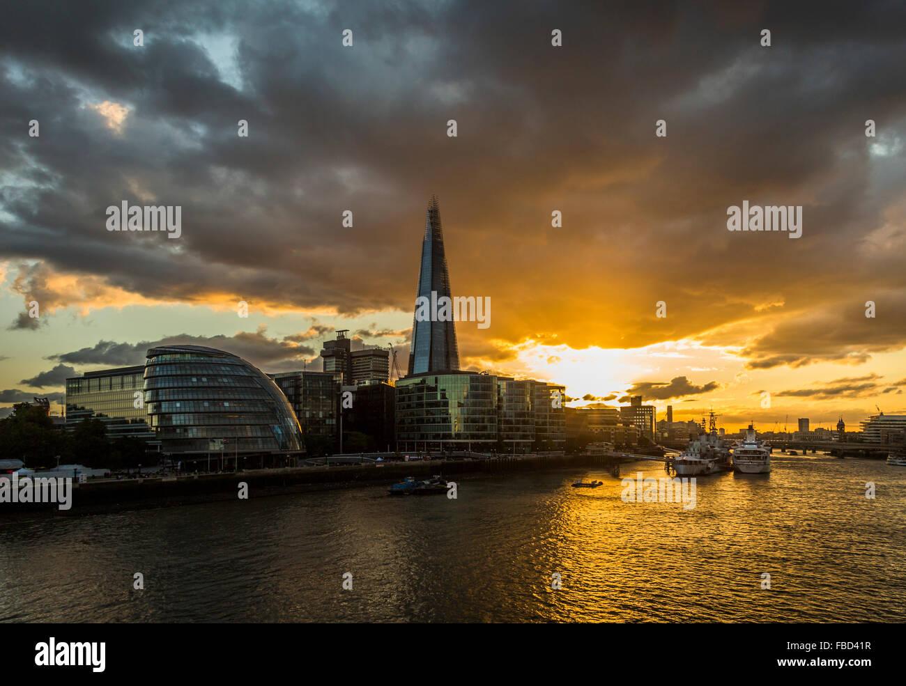 The City Hall and The Shard, London, United Kingdom - Stock Image