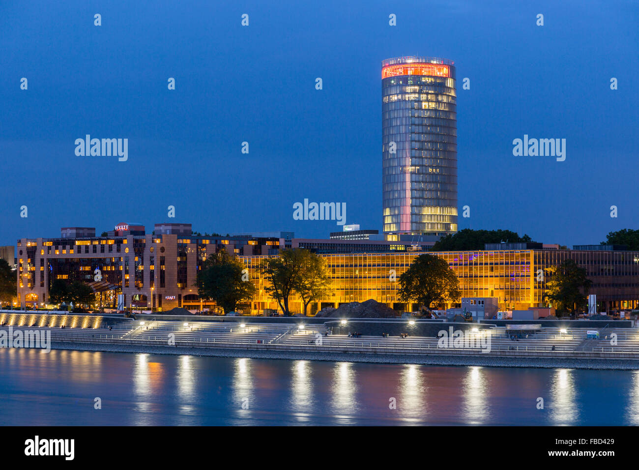 Rhine promenade, LVR tower,  Cologne, Germany - Stock Image