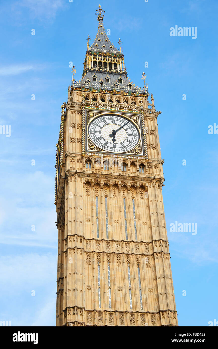 Big Ben in London, blue sky - Stock Image