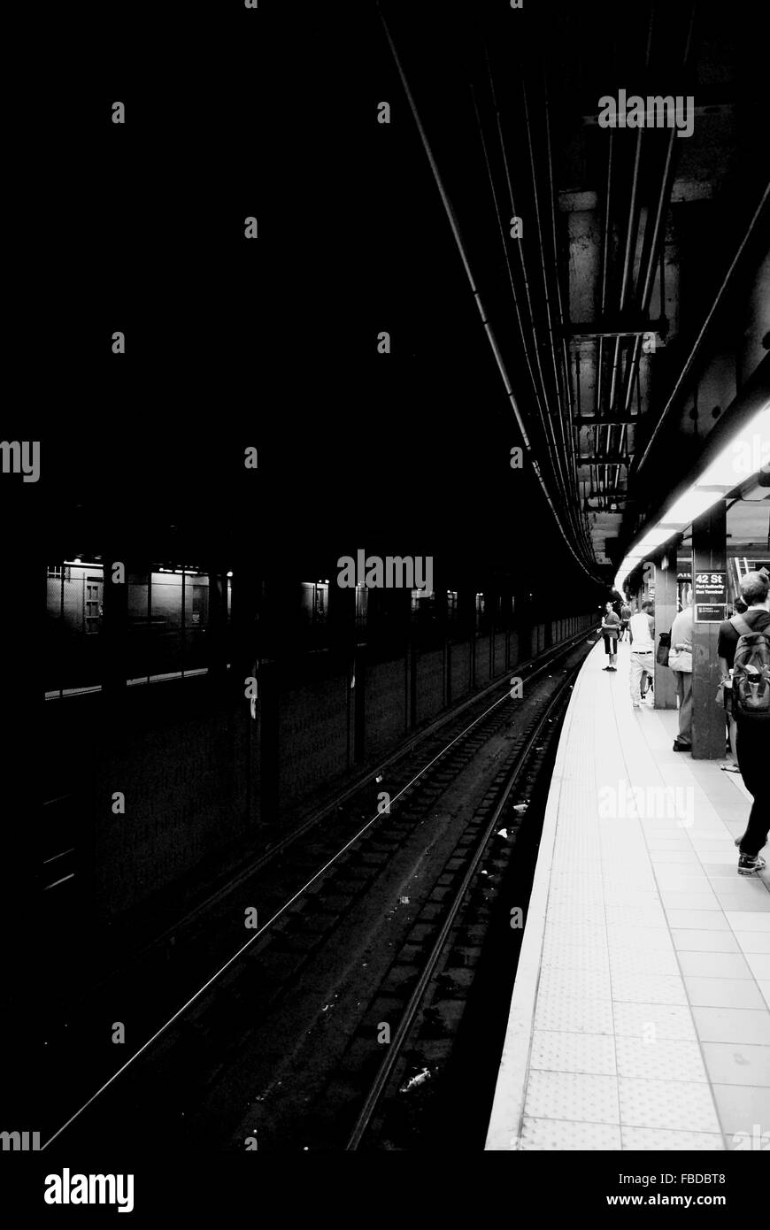 People At Railroad Station Platform - Stock Image