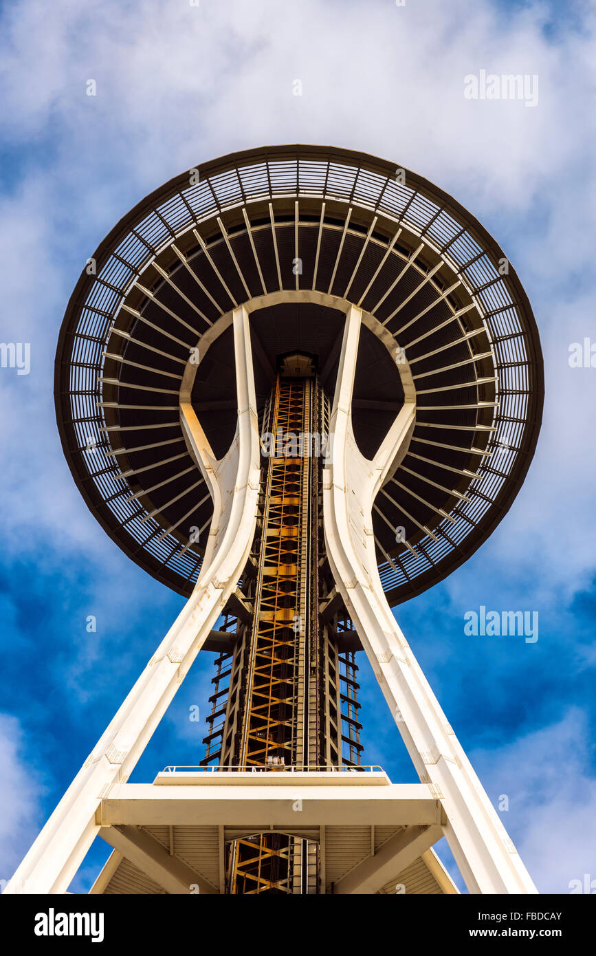 Low angle view of the Space Needle, Seattle, Washington, USA - Stock Image