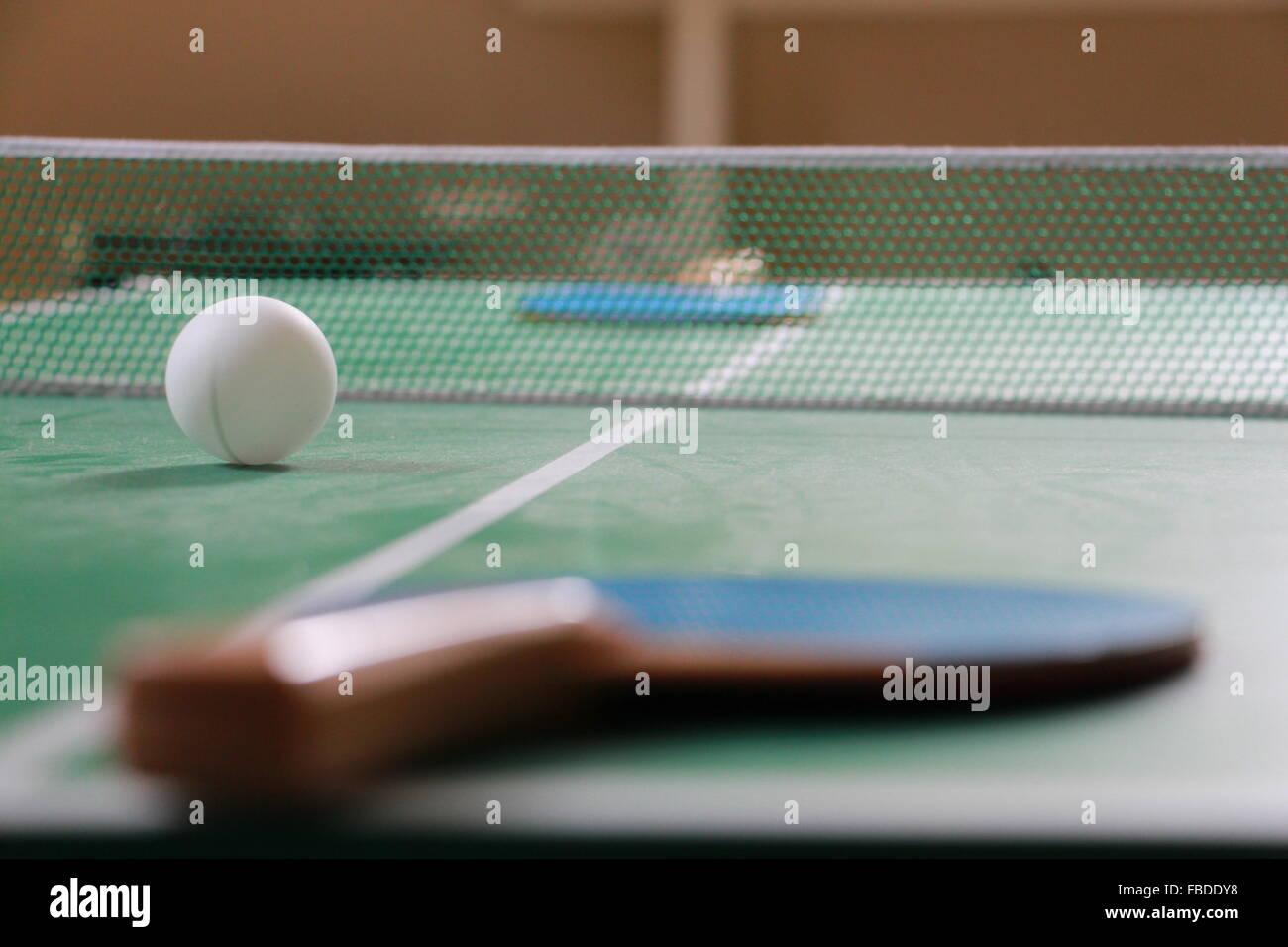 Table Tennis Table And Paddles - Stock Image