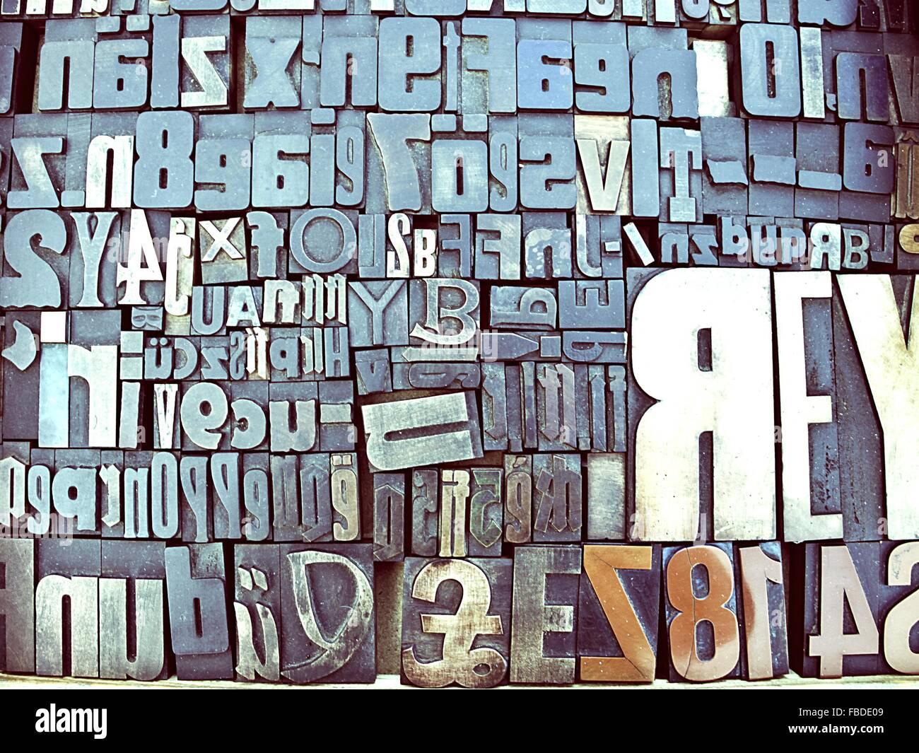 Close-Up Of Block Shape Alphabets - Stock Image