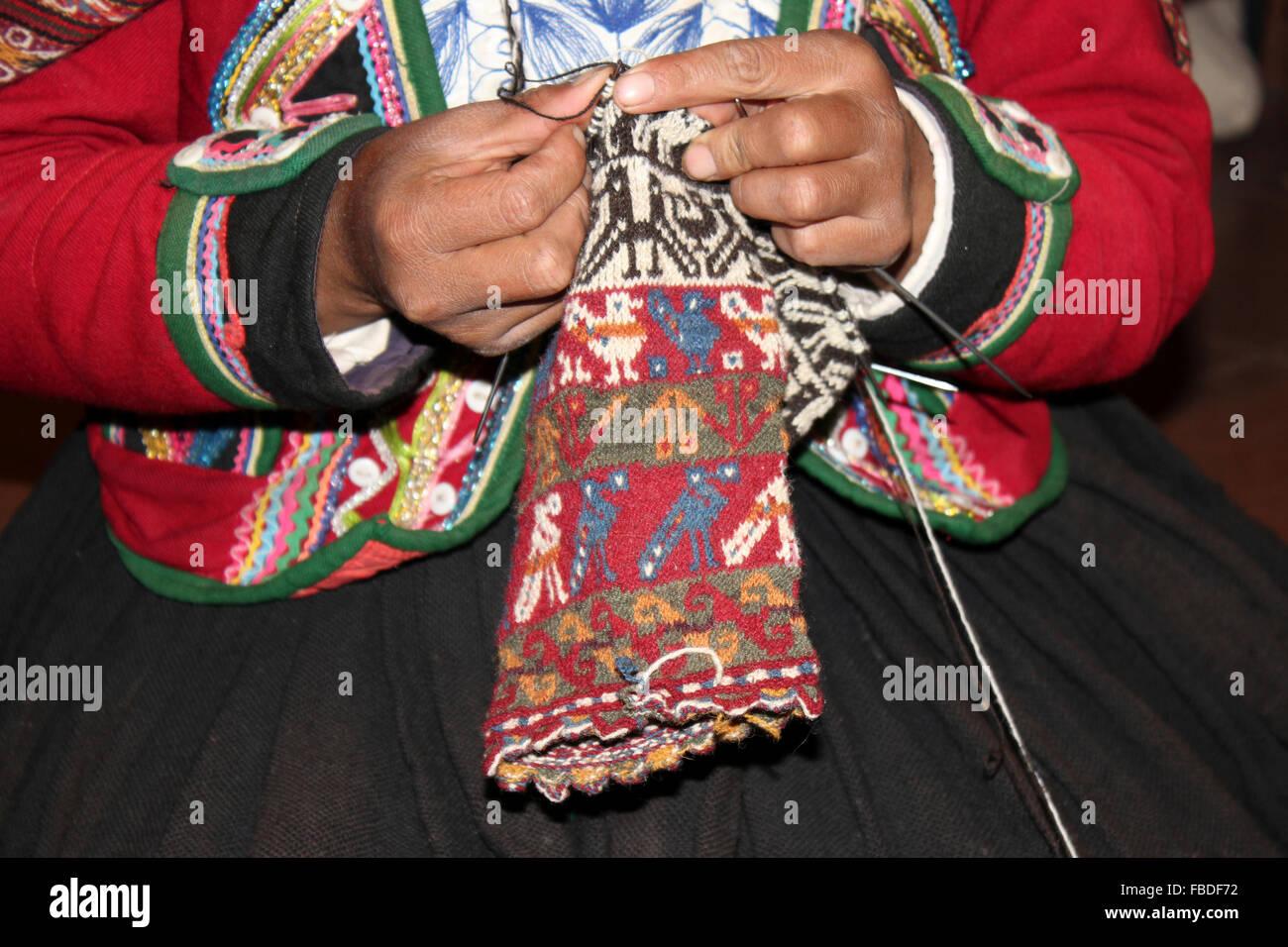 Peru Woman Knitting - Stock Image