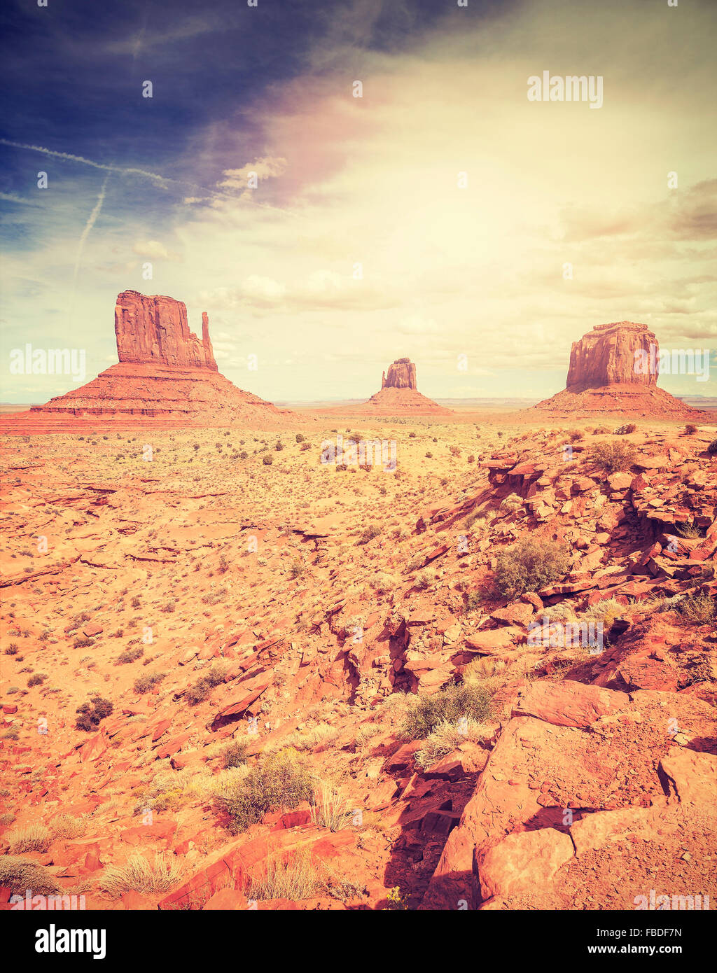 Vintage stylized picture of the Monument Valley, USA. - Stock Image