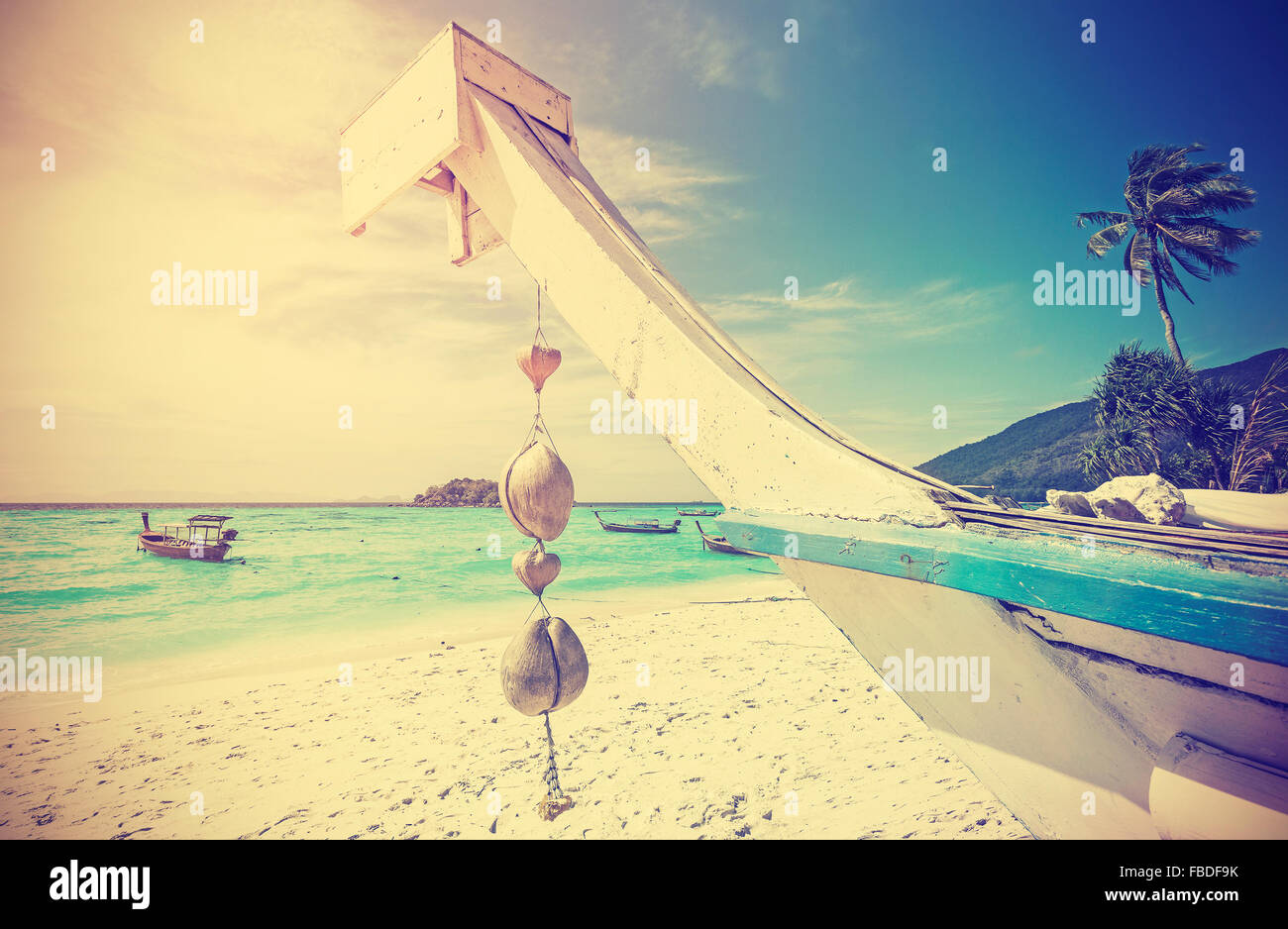 Retro stylized tropical beach, summer holidays concept. - Stock Image