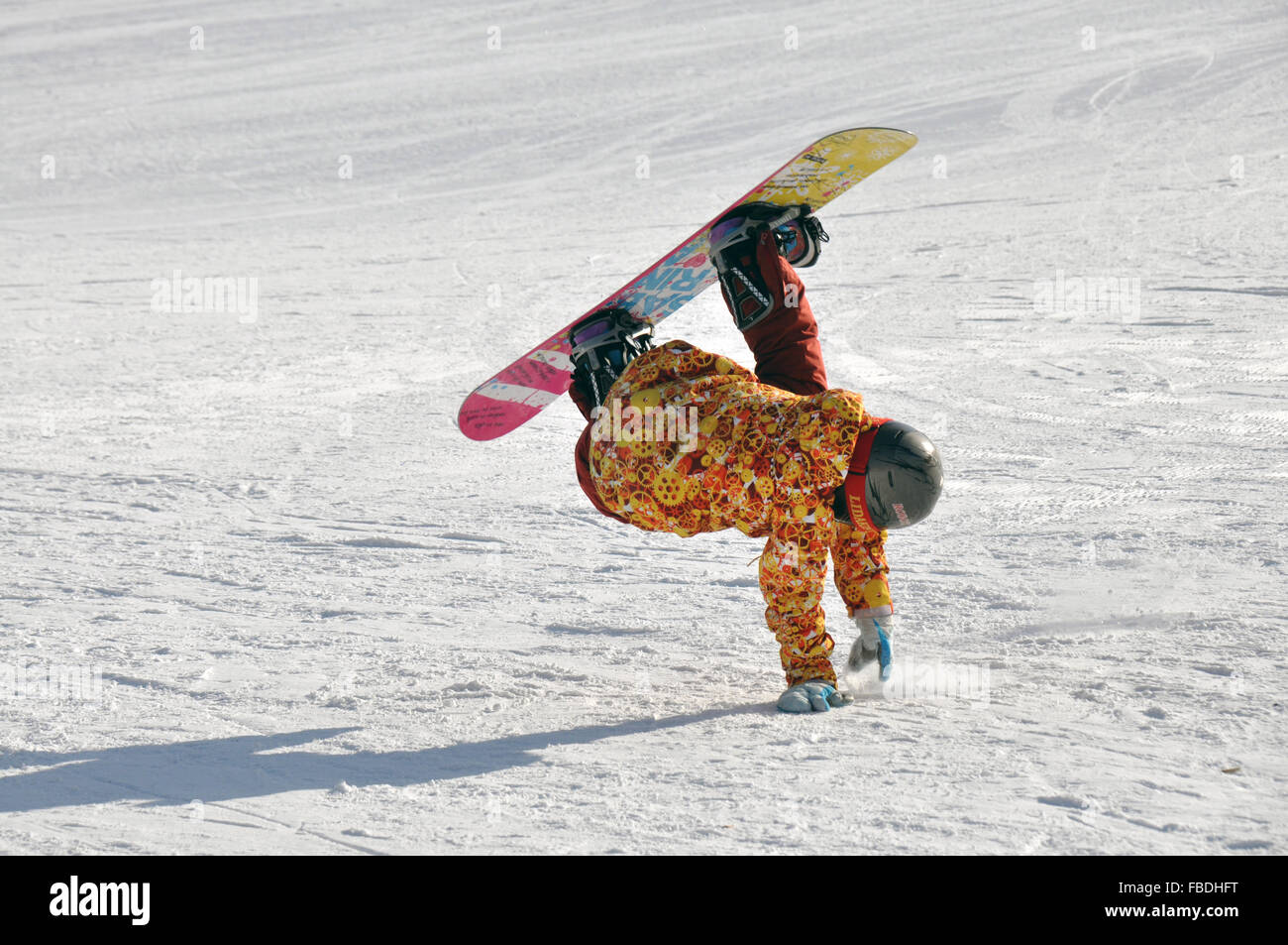 (160115) -- HOLONBUYR, Jan. 15, 2016 (Xinhua) -- A teenager performs acrobatic movement when skiing during a winter Stock Photo