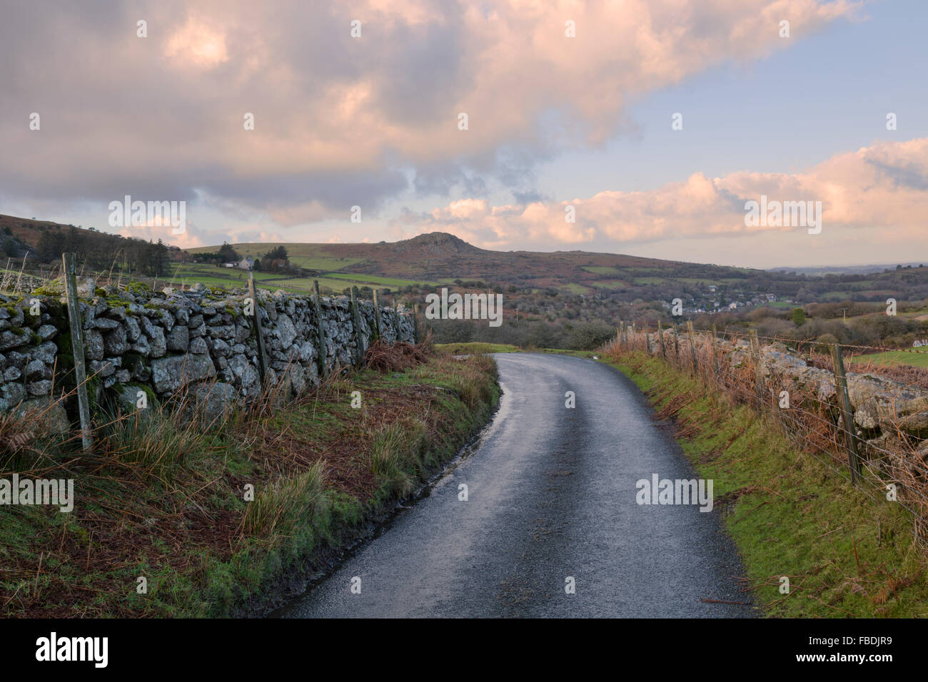 The winding road from Minions to Henwood on Bodmin Moor Stock Photo