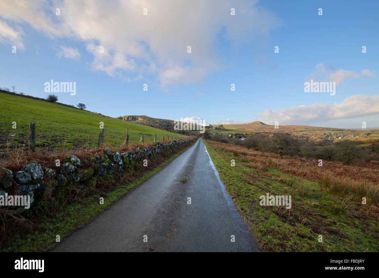 The moorland road from Minions to the village of Henwood - Stock Image