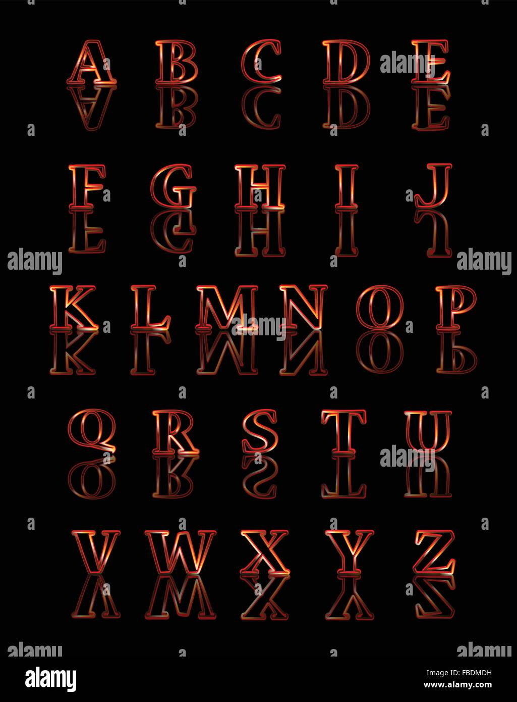 A Gold And Red Reflected Alphabet Over A Black Background Stock