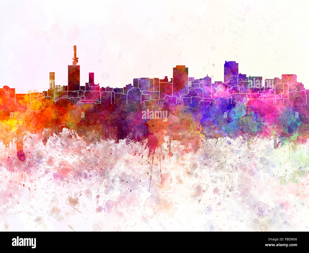 Lagos skyline in watercolor background - Stock Image