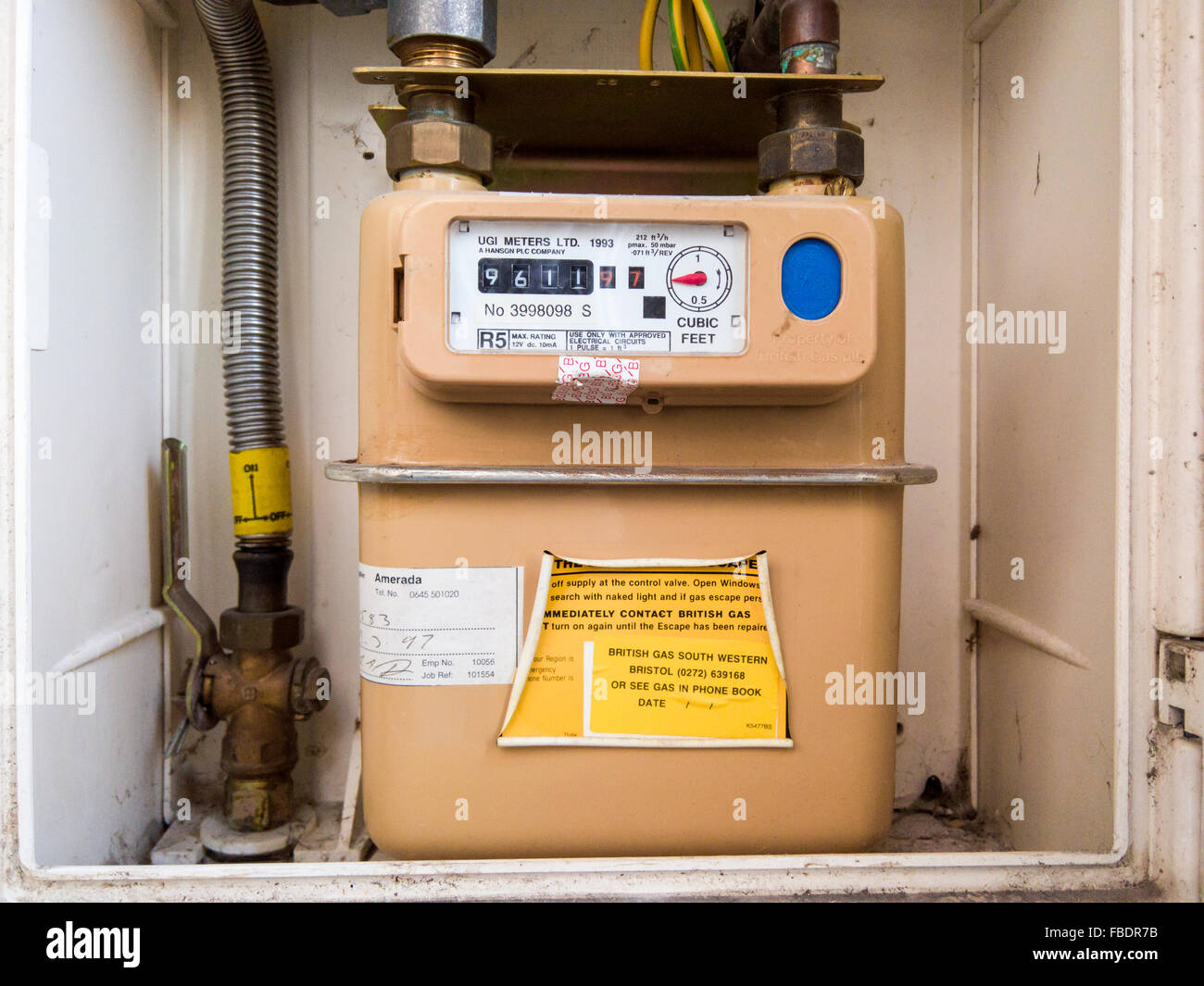 Residential Utility Meter Stock Photos Panel Wiring Jobs Bristol Domestic Gas United Kingdom Image