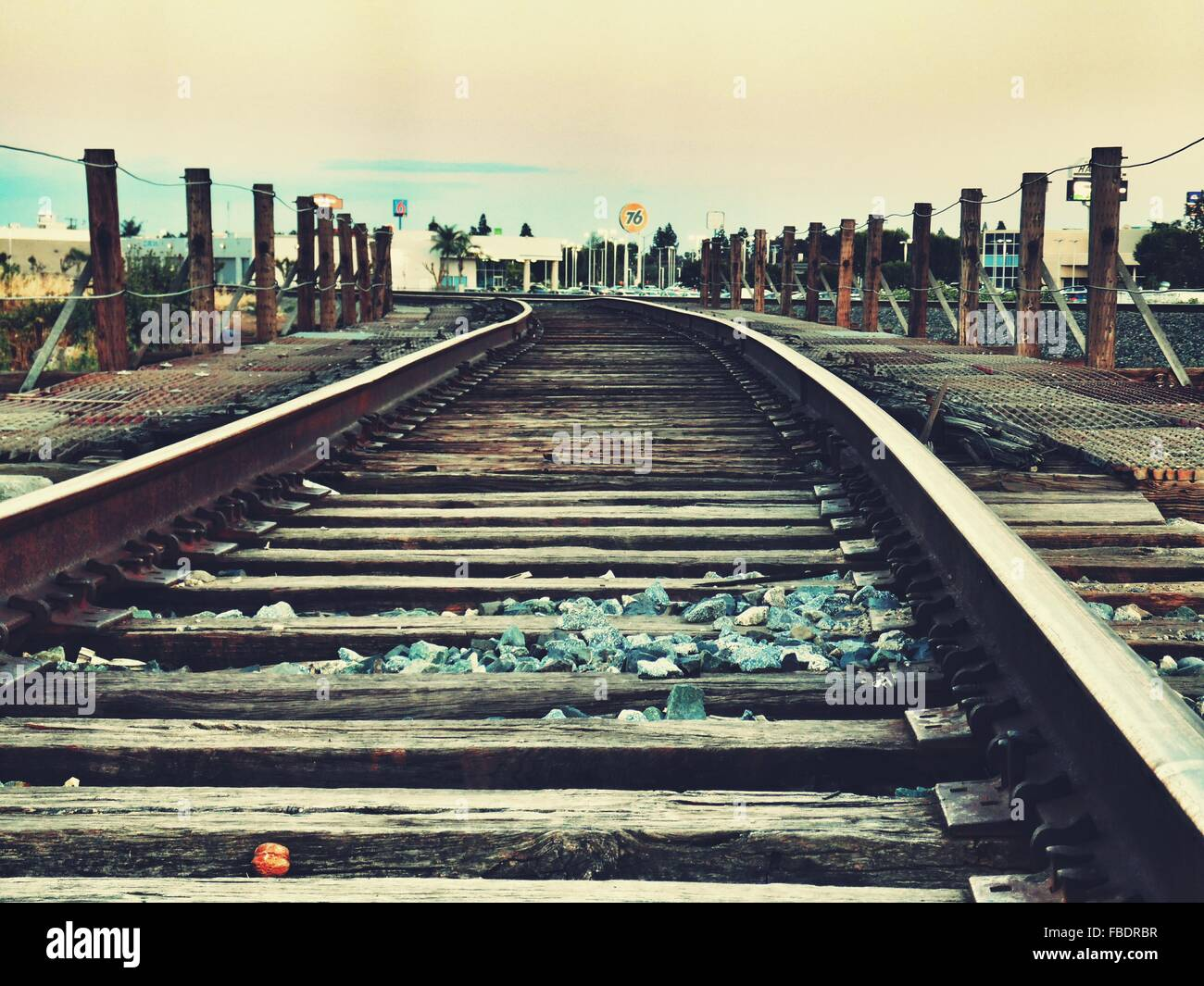 Surface Level Of Railway Tracks Against Sky - Stock Image