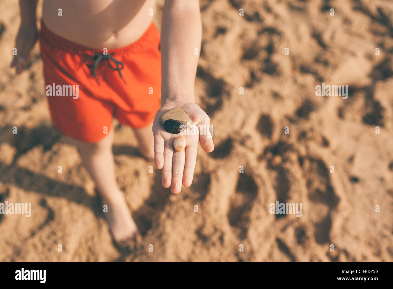 Low Section View Of Boy Showing Pebbles On Beach - Stock Image