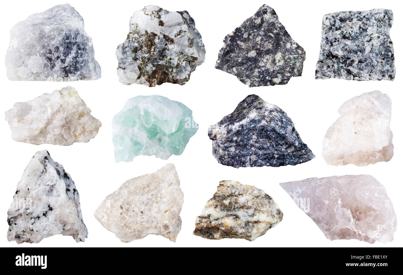 macro shooting of specimen natural rock - set of 12 mineral stones isolated on white background - Stock Image