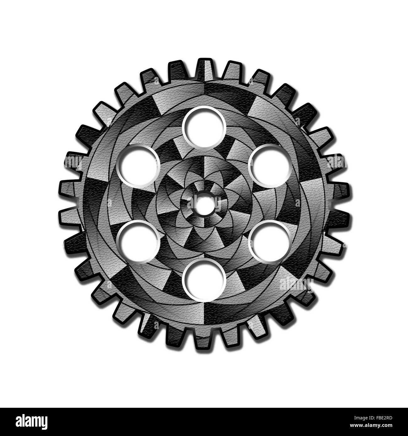 Gearwheel in black and white with geometric texture. Digital art. - Stock Image