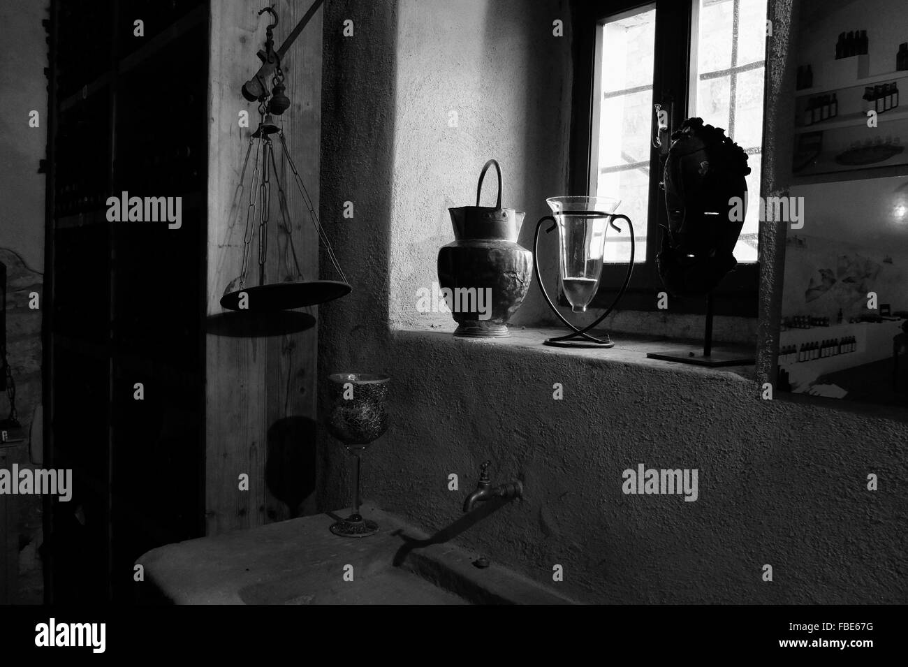 Container And Vase On Window - Stock Image