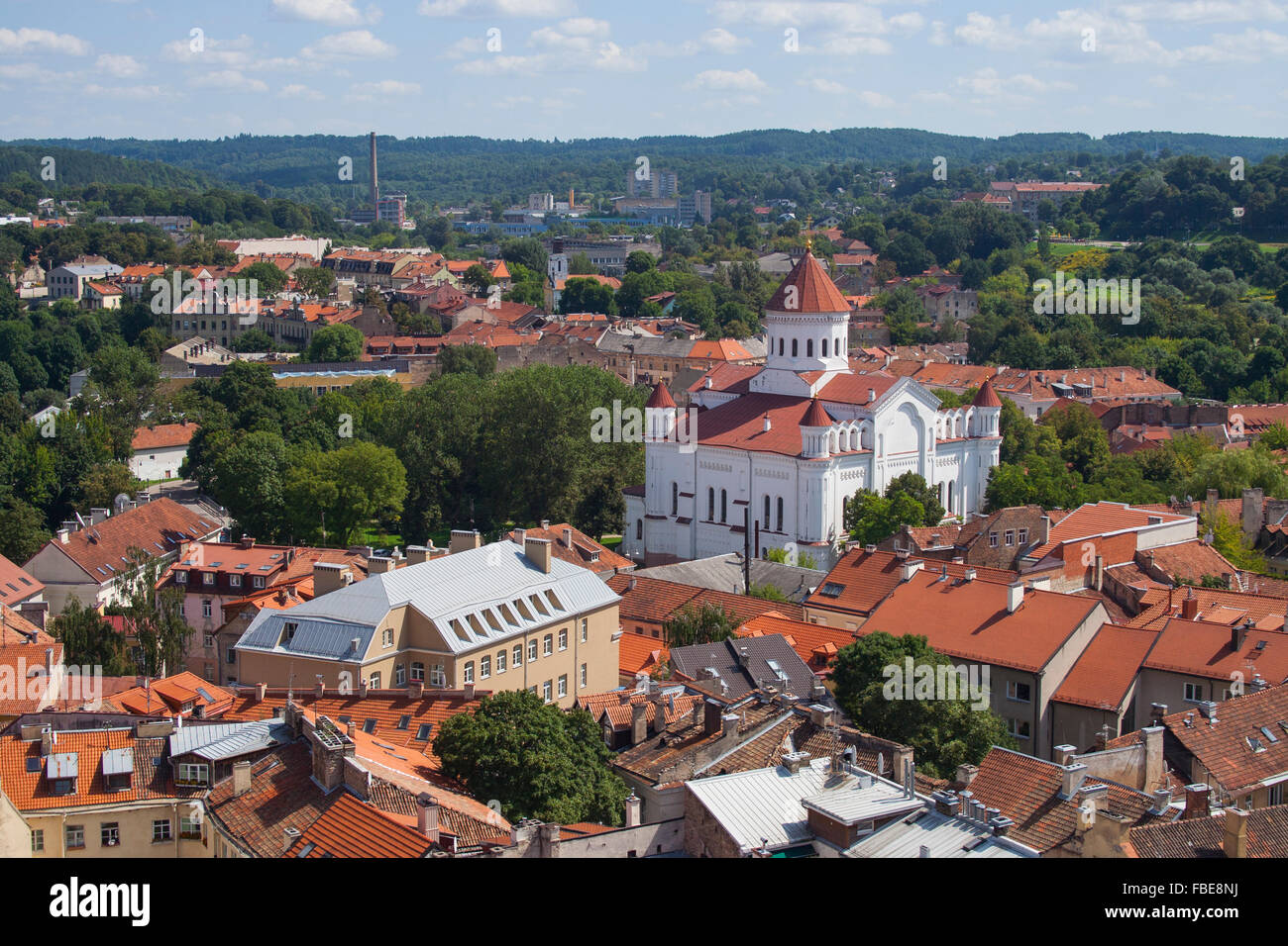 Overview of Orthodox Church of the Holy Mother of God and Uzupis district, Vilnius, Lithuania - Stock Image