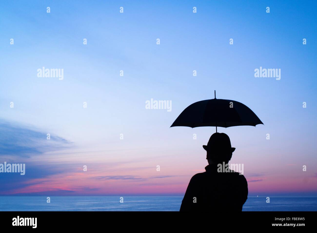 Rear View Of Silhouette Person Holding Umbrella Standing By Sea Stock Photo Alamy