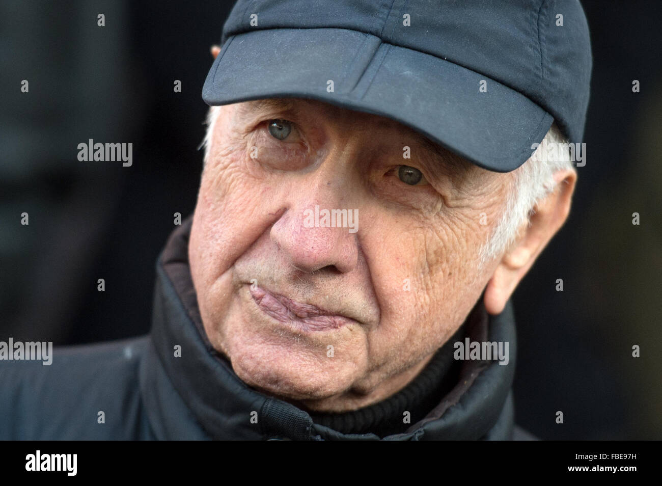 Leipzig, Germany. 14th Jan, 2016. Actor Armin Mueller-Stahl leaves the St. Thomas Church after funeral services - Stock Image