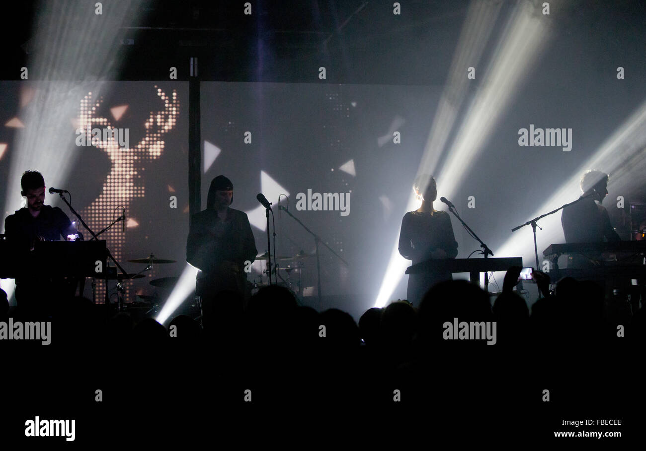 The Slovenian band Laibach performs on stage in Nuremberg, Germany, 13 January 2016. The band was founded in 1980 - Stock Image