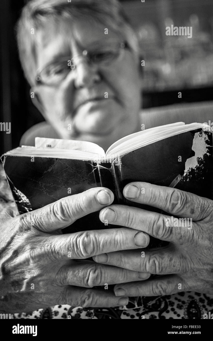 Senior Woman Wearing Eyeglasses Reading Book At Home - Stock Image