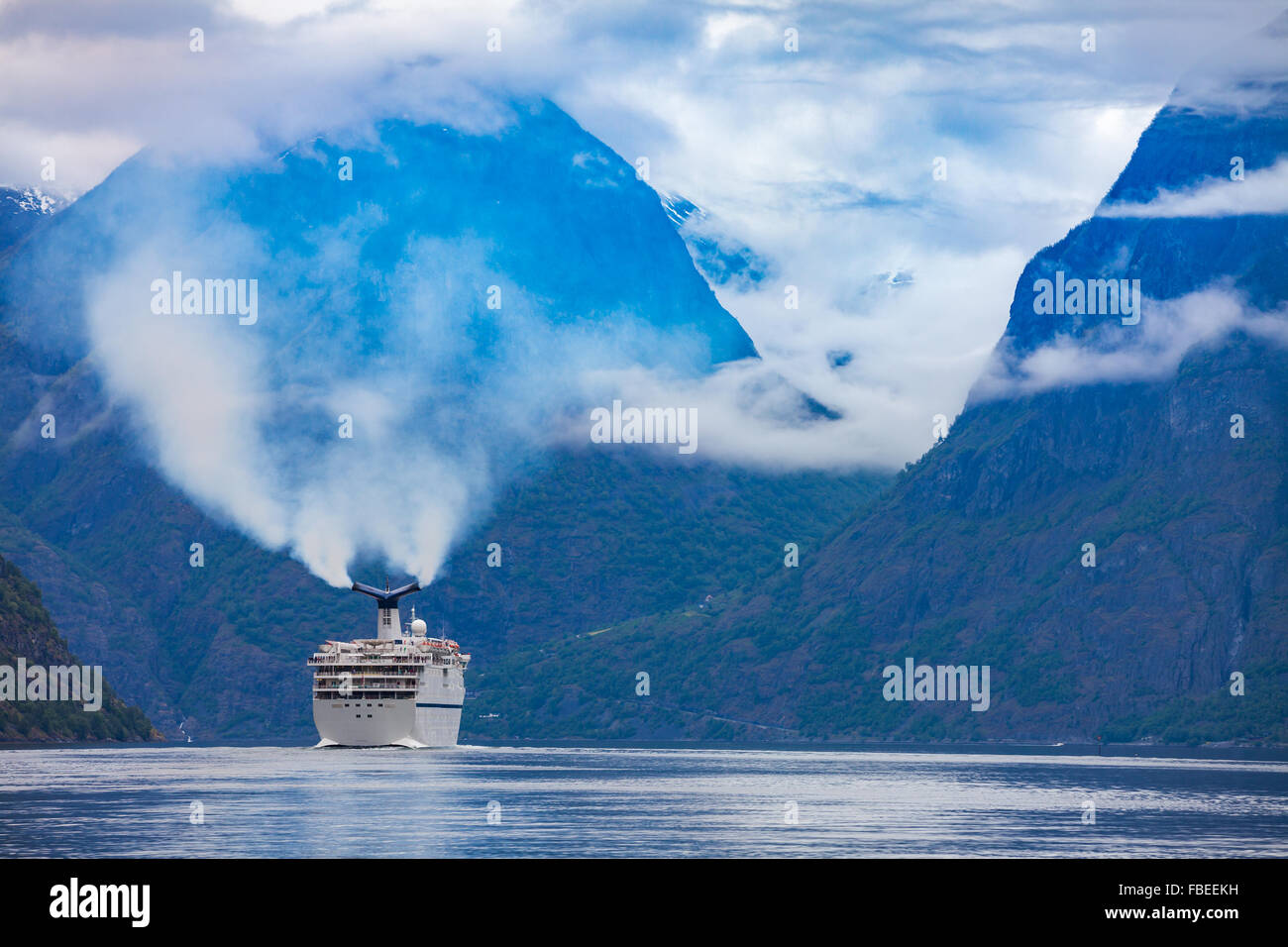Cruise Ship, Cruise Liners On Hardanger fjorden, Norway - Stock Image