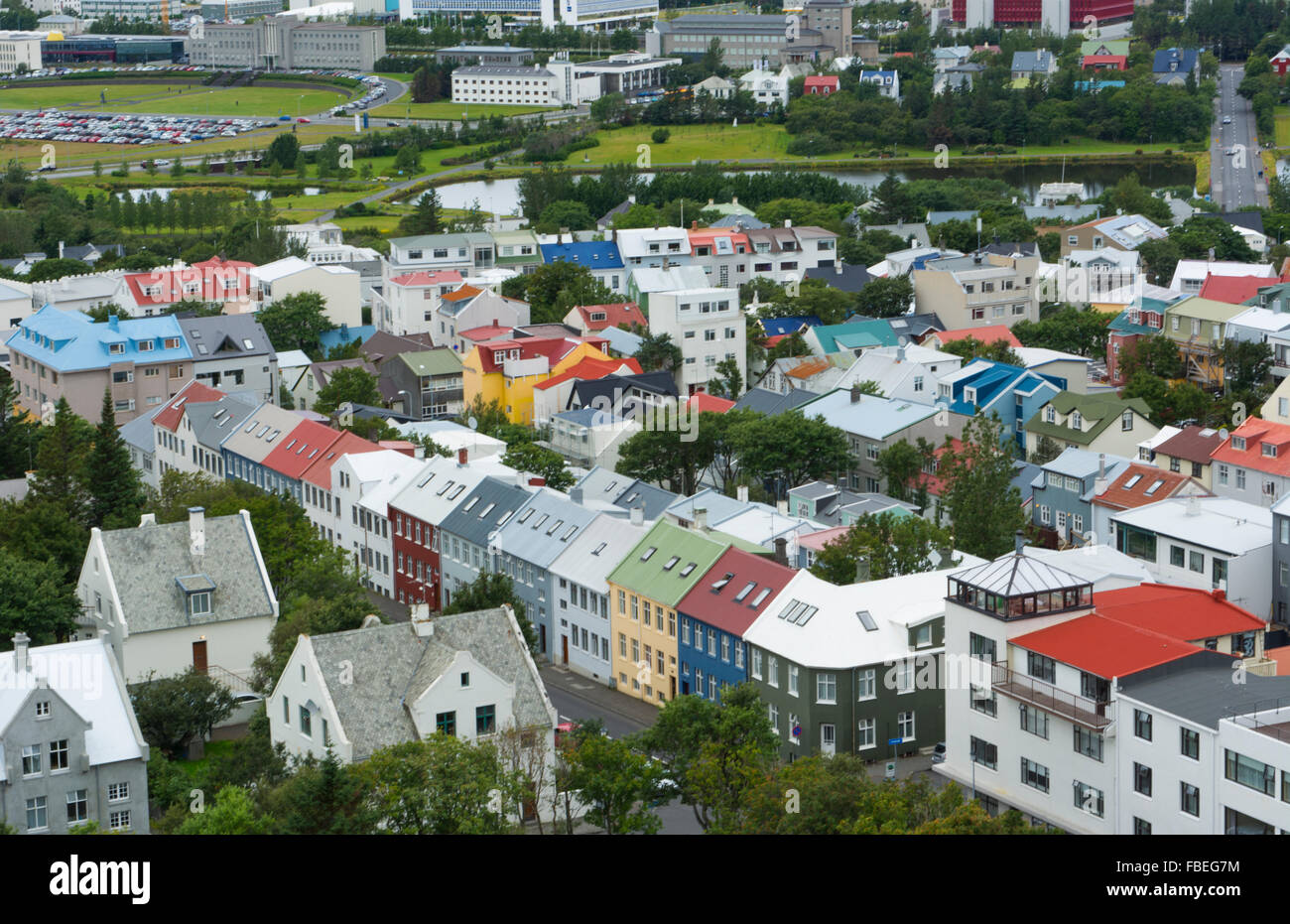 Reykjavik Iceland downtown houses from above in Hallgrims Church of colorful neighborghood houses - Stock Image