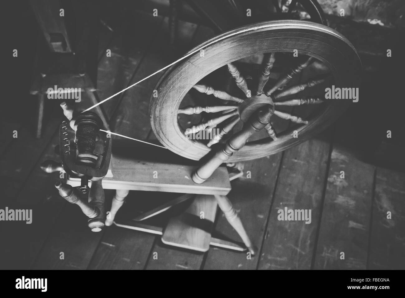 High Angle View Of Old Spinning Wheel At Home Stock Photo