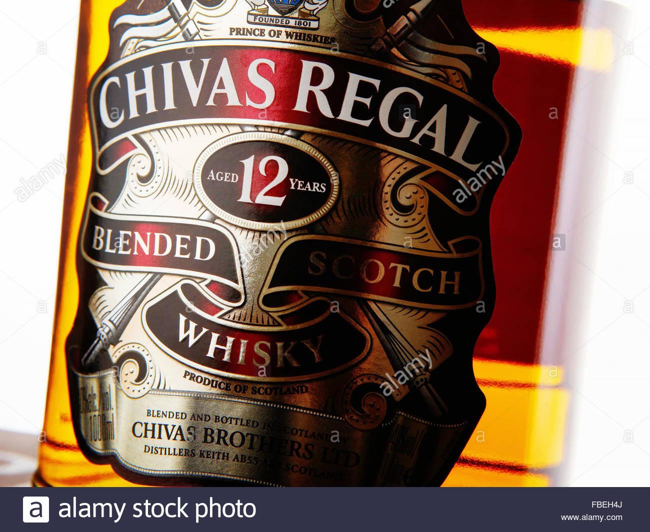 MINSK, BELARUS - FEBRUARY 7, 2010: Chivas Regal whisky bottle close up. Chivas Regal is blended scotch whisky produced - Stock Image
