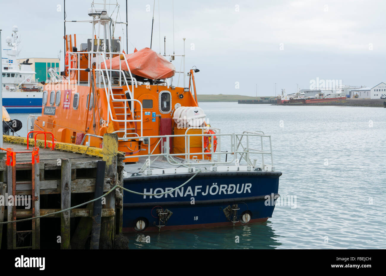 Iceland Hofn village fishing boating colorful ship abstrracts in marina port Stock Photo