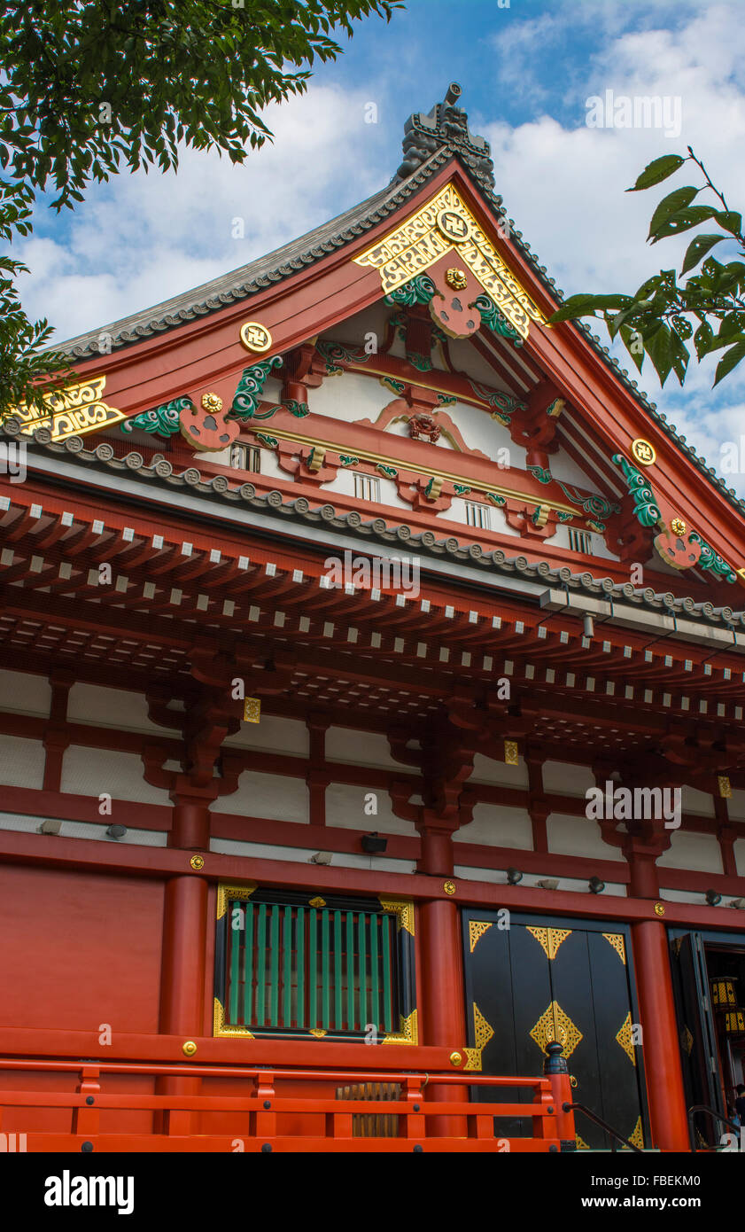 Tokyo Japan Sensoji Temple with crowds at Tokyo's oldest temple and important built in 645 founded - Stock Image