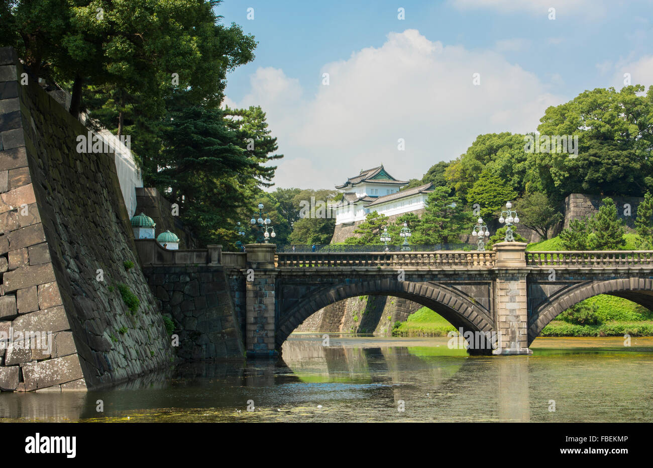 Tokyo Japan traditional Imperial Gardens in downtown city of traditional history of Emperor with bridge and temple - Stock Image