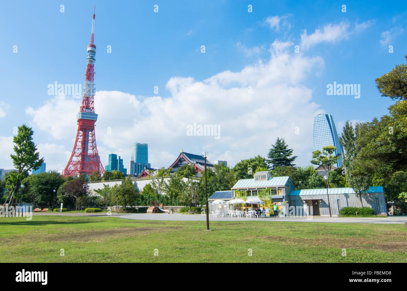 Tokyo Japan scenic of Tokyo Tower and the Zojo-ji Temple in Shiba neighborhood in downtown city view - Stock Image
