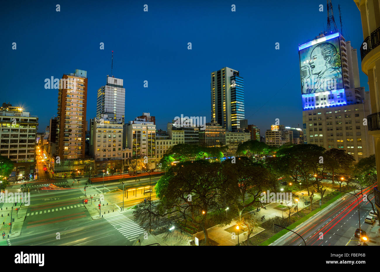 Buenos Aires Argentina 9 de Julio Avenue the widest street in the world with traffic at night twilight next to Lima - Stock Image