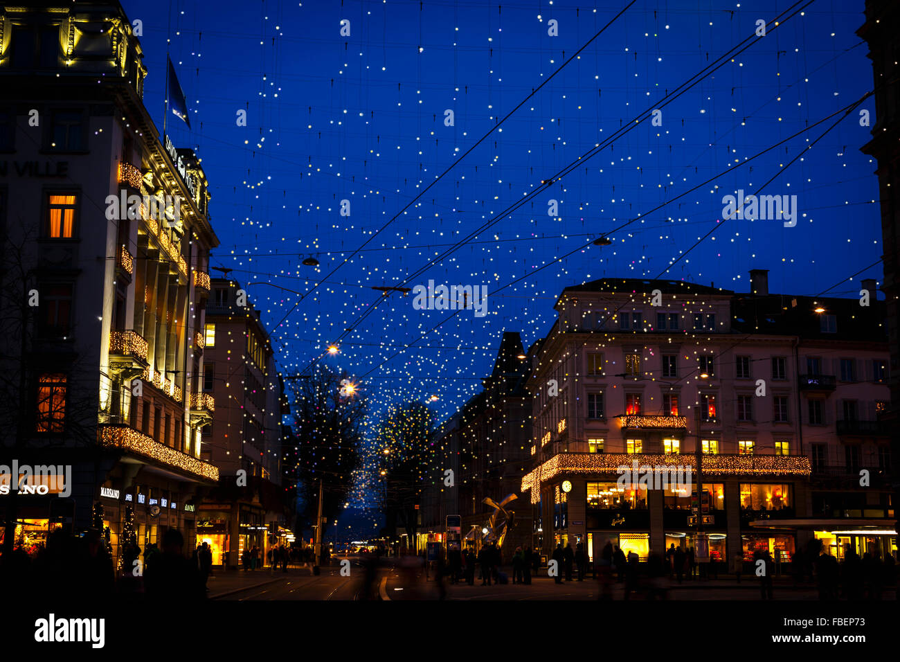 Christmas lights on the Bahnhofstrasse in Zurich, Switzerland. - Stock Image