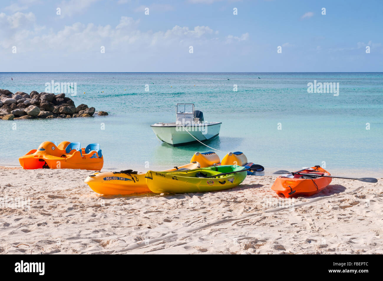 Water sport equipments on the Princess Cays beach, Eleuthera in the Bahamas on December 7 - Stock Image