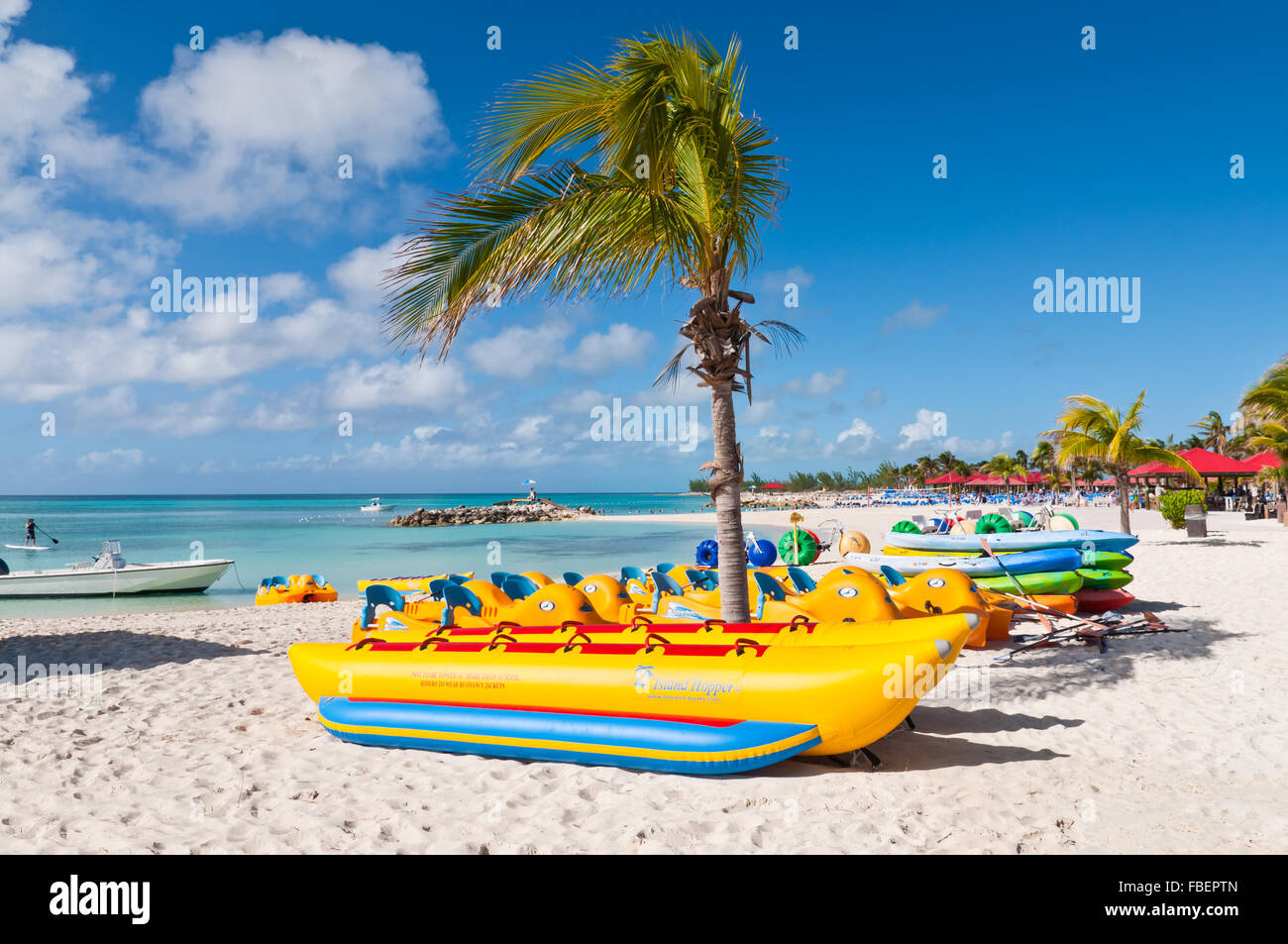 Water sport equipments on the Princess Cays beach, Eleuthera in the Bahamas - Stock Image