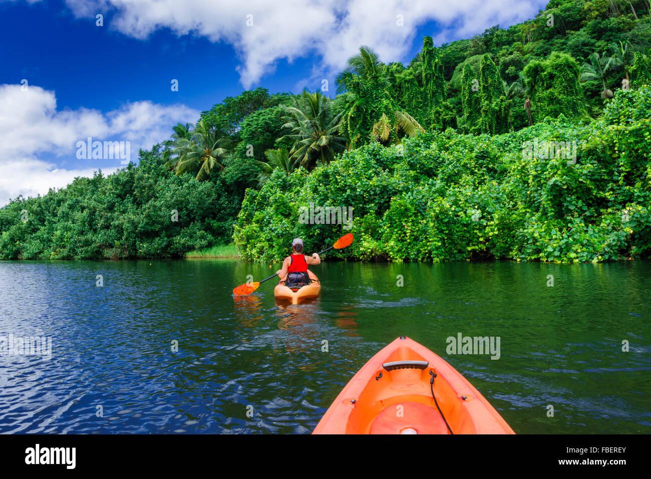 Kayaking on the Hanalei River, Hanalei, Kauai, Hawaii Stock