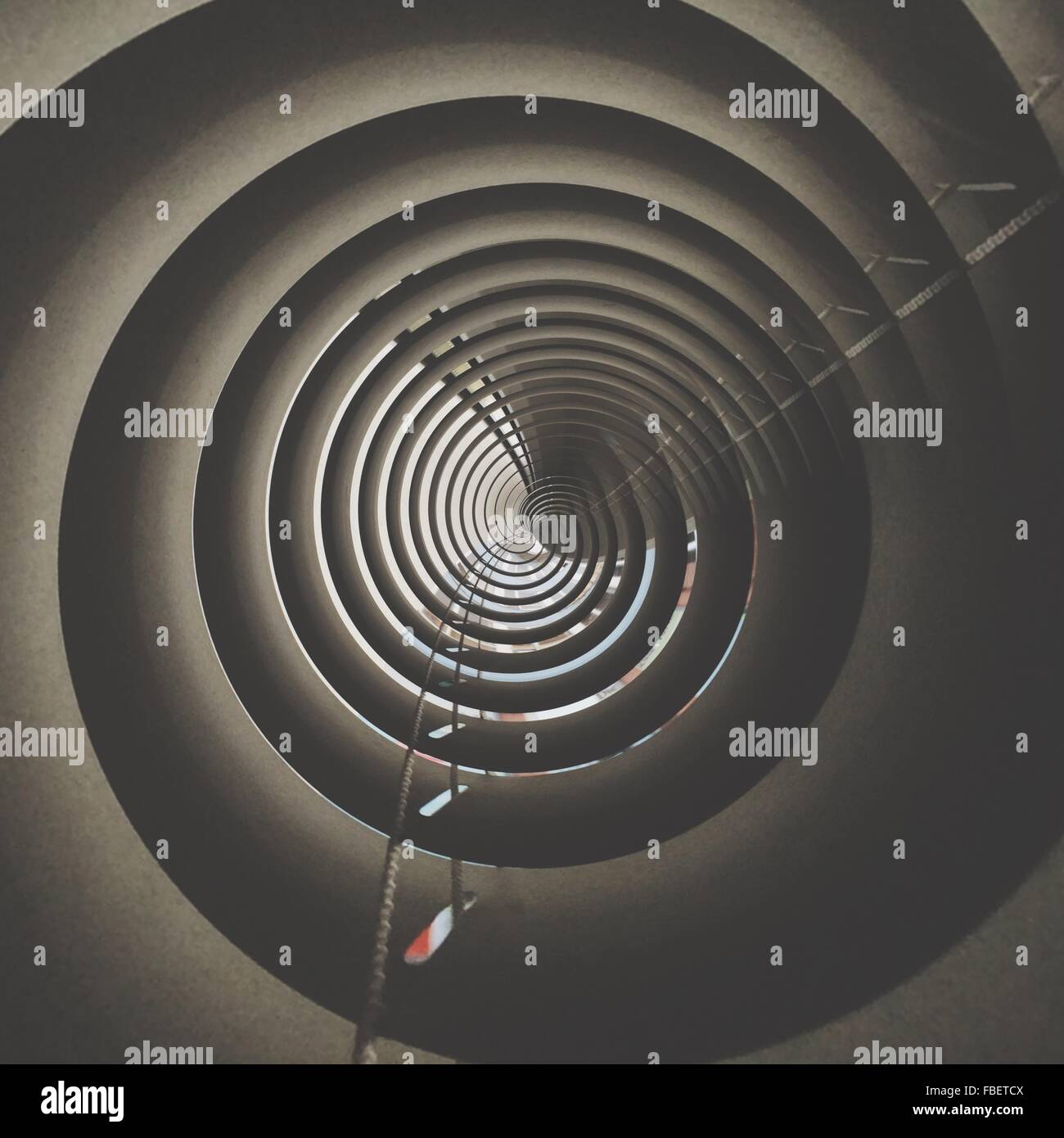 Directly Below View Of Concentric Circle Tower - Stock Image