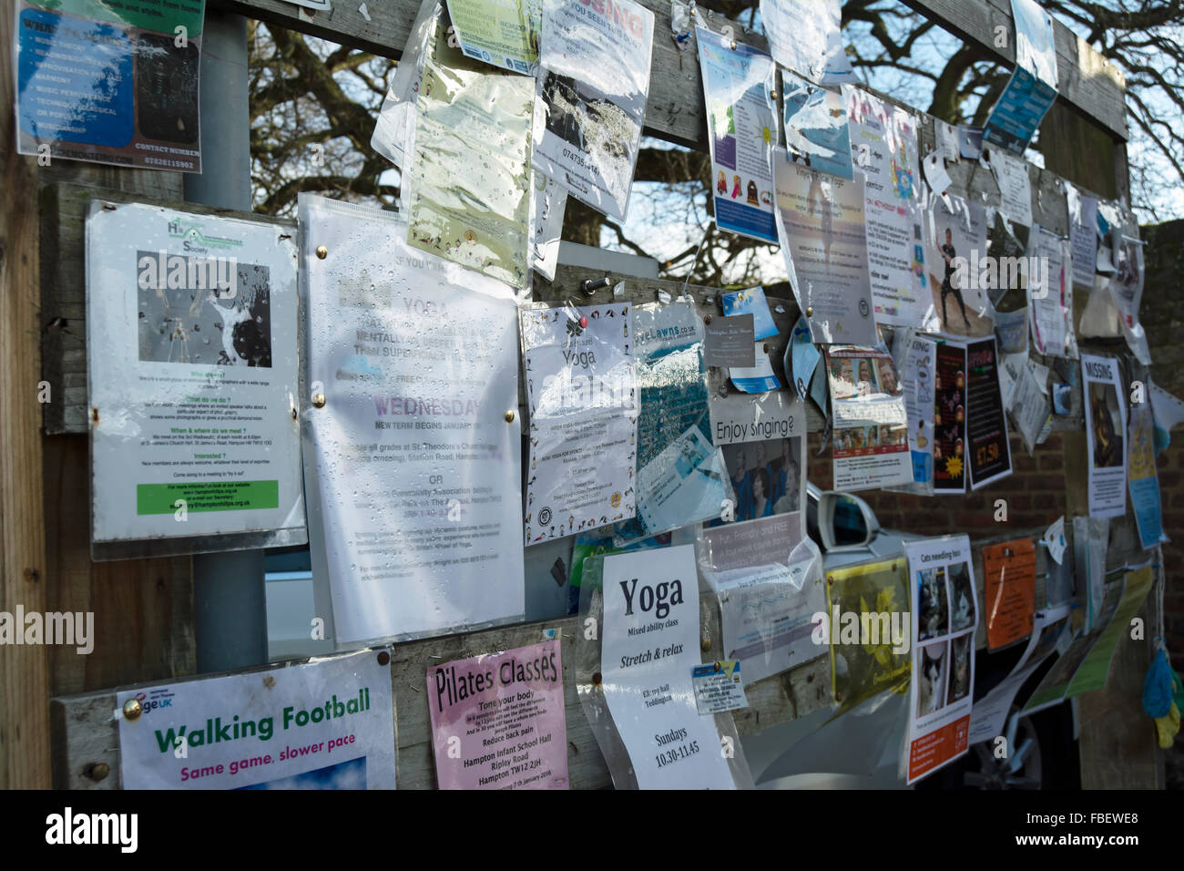community noticeboard in hampton hill, middlesex, england - Stock Image