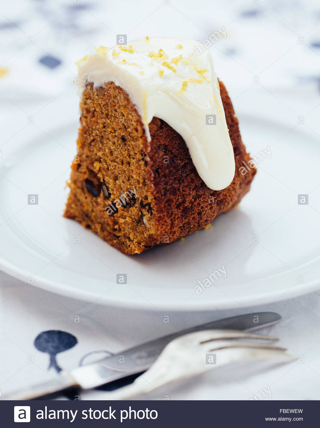 A piece of carrot cake - Stock Image
